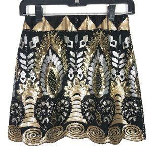 VICI Black Gold Sequin Gatsby Skirt Medium